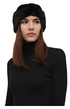 Женская повязка из меха норки KUSSENKOVV черного цвета, арт. 162800002019 | Фото 2