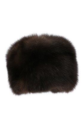 Женская шапка из меха соболя KUSSENKOVV темно-коричневого цвета, арт. 063500004676   Фото 1 (Материал: Натуральный мех)