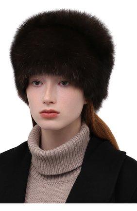 Женская шапка из меха соболя KUSSENKOVV темно-коричневого цвета, арт. 063500004676   Фото 2 (Материал: Натуральный мех)