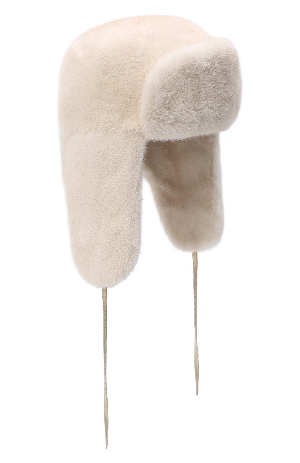 Женская шапка-ушанка из меха норки FURLAND белого цвета, арт. 0051700110113600000 | Фото 1