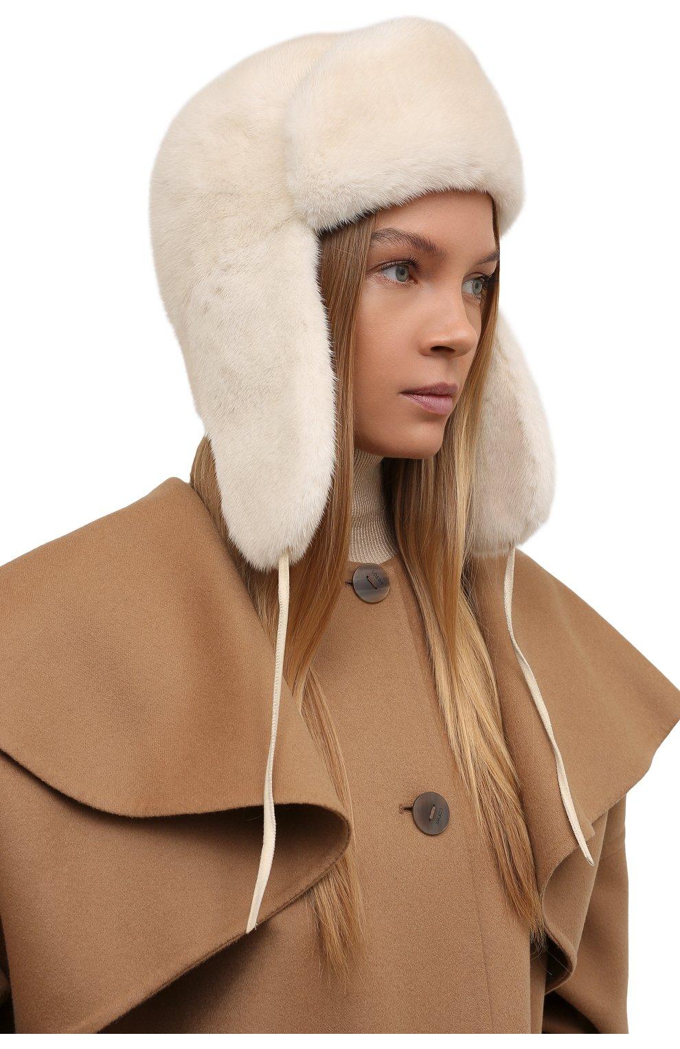 Женская шапка-ушанка из меха норки FURLAND белого цвета, арт. 0051700110113600000 | Фото 2