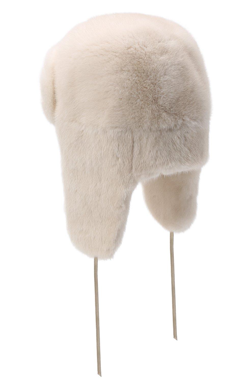 Женская шапка-ушанка из меха норки FURLAND белого цвета, арт. 0051700110113600000 | Фото 3