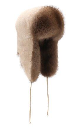 Женская шапка-ушанка из меха норки и соболя KUSSENKOVV бежевого цвета, арт. 091203641094   Фото 1