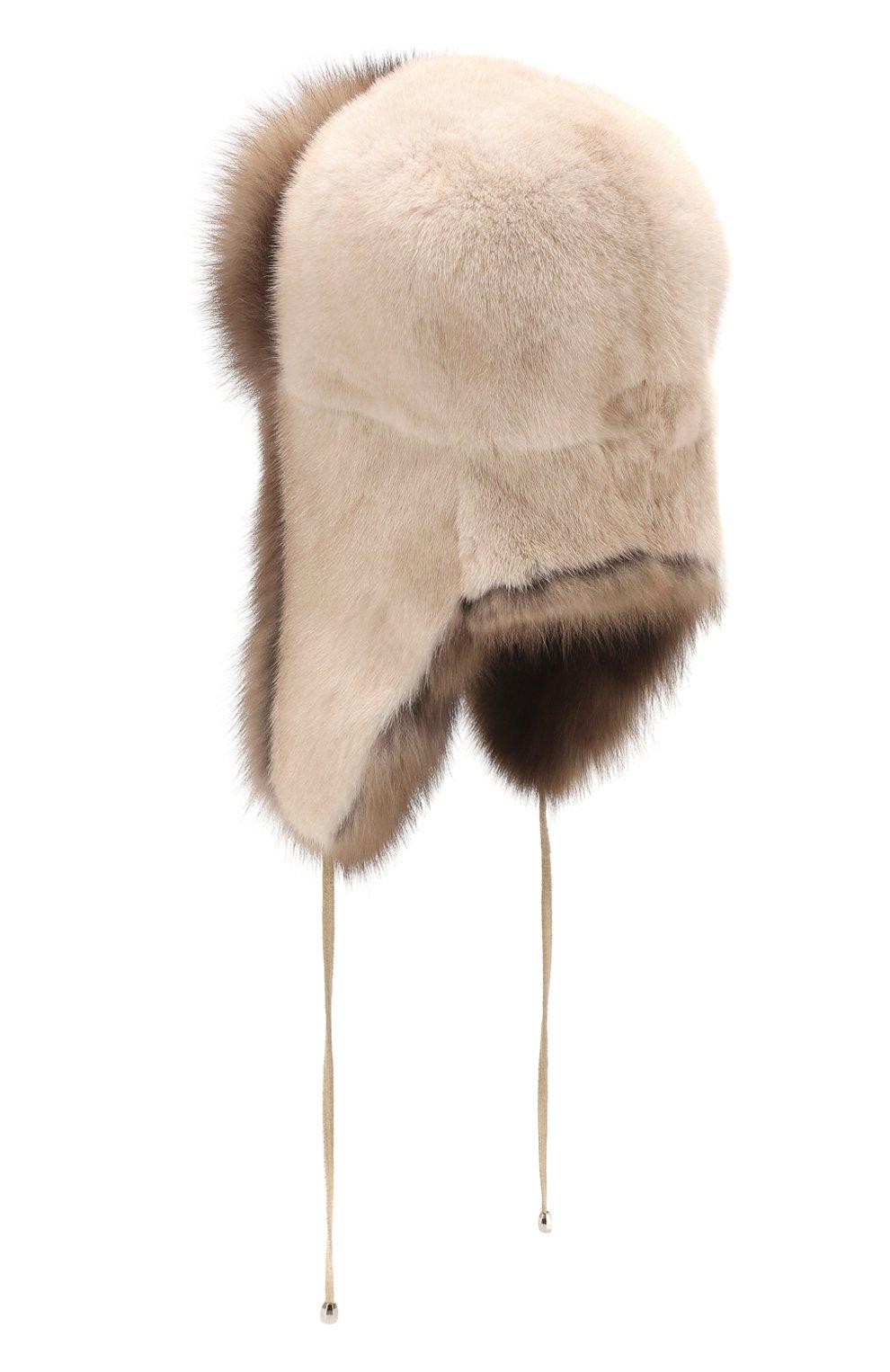 Женская шапка-ушанка из меха норки и соболя KUSSENKOVV бежевого цвета, арт. 091203641094   Фото 2