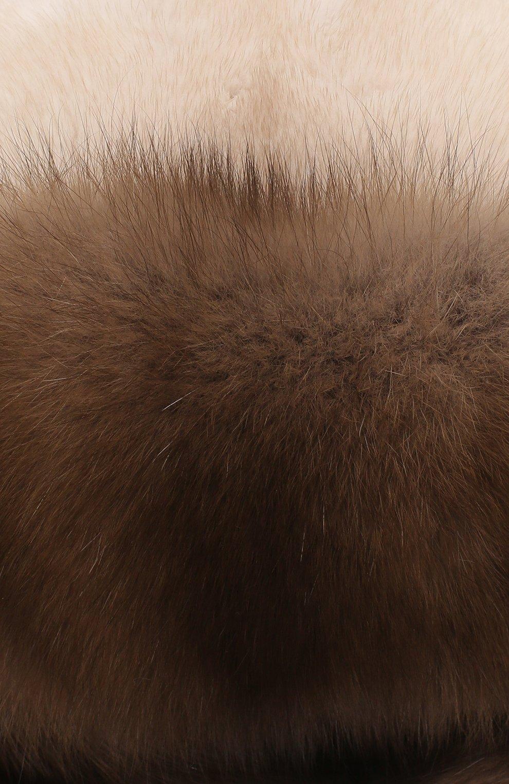 Женская шапка-ушанка из меха норки и соболя KUSSENKOVV бежевого цвета, арт. 091203641094   Фото 3