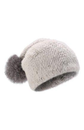 Женская шапка из меха норки с помпоном из лисы KUSSENKOVV серого цвета, арт. 051650008205   Фото 1 (Материал: Натуральный мех)