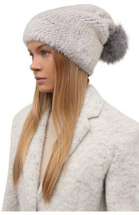 Женская шапка из меха норки с помпоном из лисы KUSSENKOVV серого цвета, арт. 051650008205   Фото 2 (Материал: Натуральный мех)