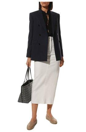 Женские кожаные эспадрильи SAINT LAURENT бежевого цвета, арт. 458573/0RR00 | Фото 2