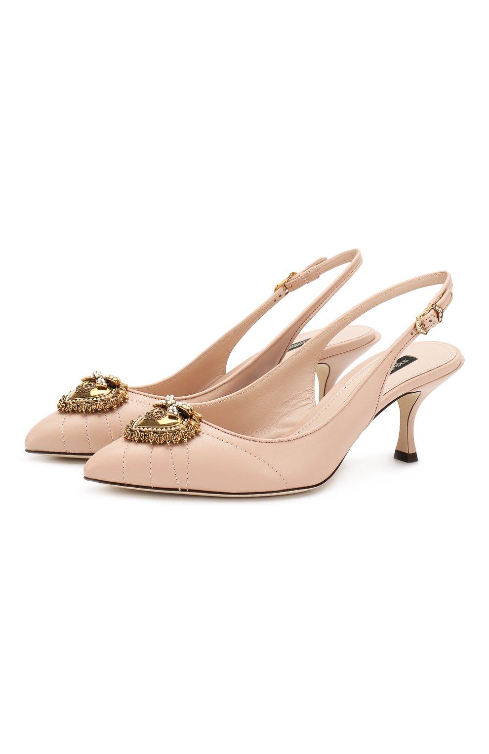 Женские кожаные туфли devotion DOLCE & GABBANA светло-бежевого цвета, арт. CG0391/AV967 | Фото 1