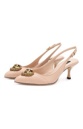 Женская кожаные туфли devotion DOLCE & GABBANA светло-бежевого цвета, арт. CG0391/AV967 | Фото 1