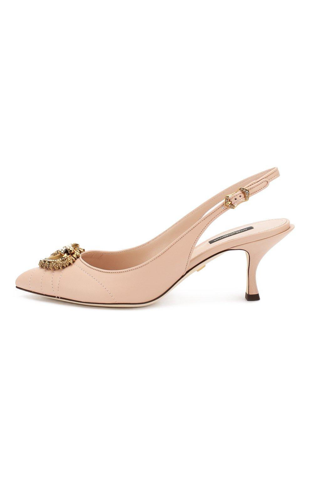 Женские кожаные туфли devotion DOLCE & GABBANA светло-бежевого цвета, арт. CG0391/AV967 | Фото 3