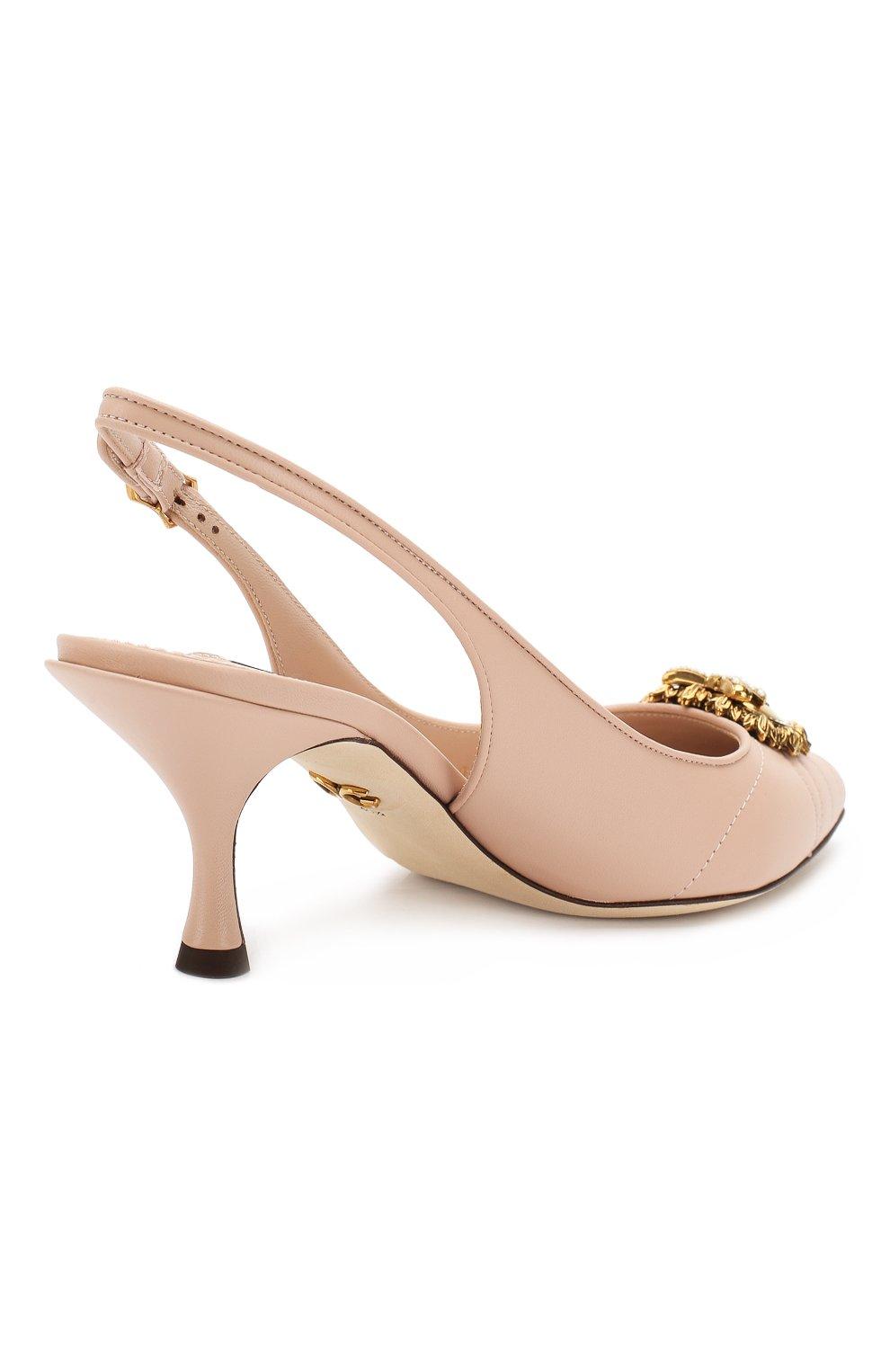 Женские кожаные туфли devotion DOLCE & GABBANA светло-бежевого цвета, арт. CG0391/AV967 | Фото 4