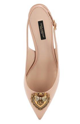Женские кожаные туфли devotion DOLCE & GABBANA светло-бежевого цвета, арт. CG0391/AV967 | Фото 5