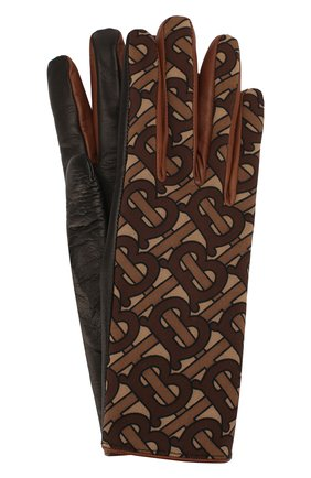 Женские кожаные перчатки BURBERRY коричневого цвета, арт. 8025009 | Фото 1
