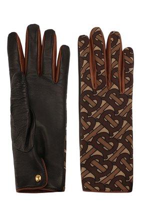 Женские кожаные перчатки BURBERRY коричневого цвета, арт. 8025009 | Фото 2