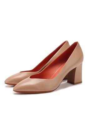 Женская кожаные туфли SANTONI бежевого цвета, арт. WDHZ58610HI2RSZAP29 | Фото 1