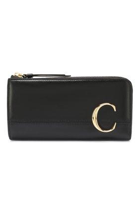 Женские кожаный кошелек CHLOÉ черного цвета, арт. CHC19WP084A37 | Фото 1
