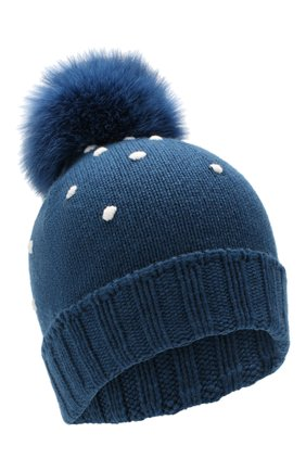 Женский кашемировая шапка snowy land LORO PIANA темно-синего цвета, арт. FAL0950 | Фото 1