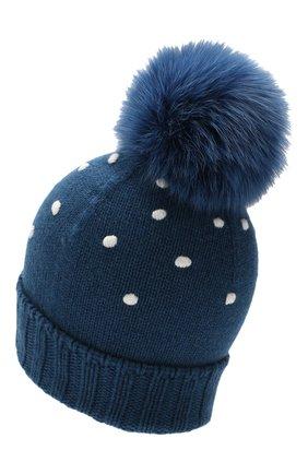 Женский кашемировая шапка snowy land LORO PIANA темно-синего цвета, арт. FAL0950 | Фото 2