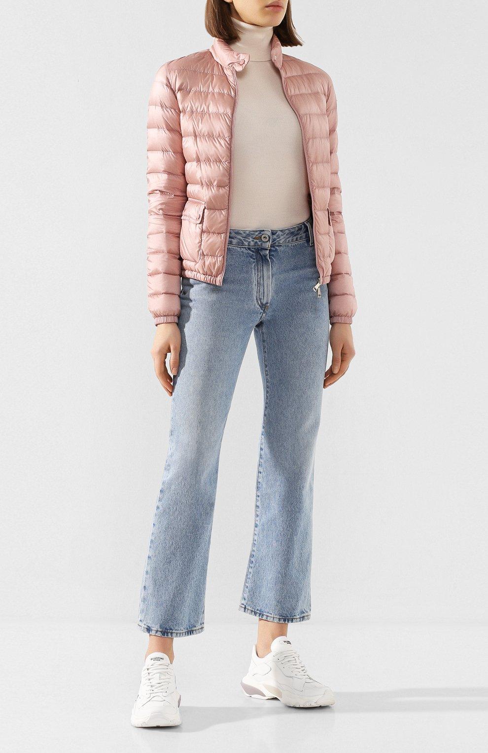Женский пуховая куртка lans MONCLER розового цвета, арт. F1-093-1A101-00-53048 | Фото 2 (Кросс-КТ: Куртка, Пуховик; Рукава: Длинные; Женское Кросс-КТ: Пуховик-куртка; Материал внешний: Синтетический материал; Материал подклада: Синтетический материал; Длина (верхняя одежда): Короткие; Материал утеплителя: Пух и перо)