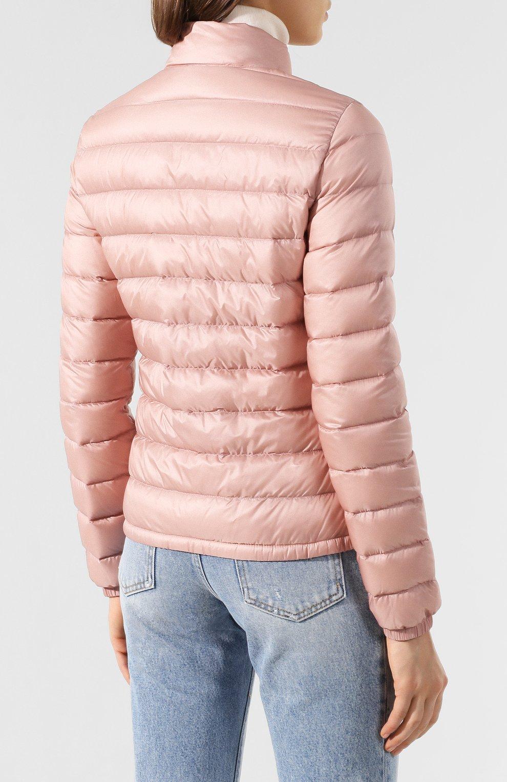 Женский пуховая куртка lans MONCLER розового цвета, арт. F1-093-1A101-00-53048 | Фото 4 (Кросс-КТ: Куртка, Пуховик; Рукава: Длинные; Женское Кросс-КТ: Пуховик-куртка; Материал внешний: Синтетический материал; Материал подклада: Синтетический материал; Длина (верхняя одежда): Короткие; Материал утеплителя: Пух и перо)