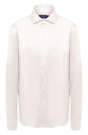 Женская шелковая рубашка POLO RALPH LAUREN светло-бежевого цвета, арт. 211798122 | Фото 1
