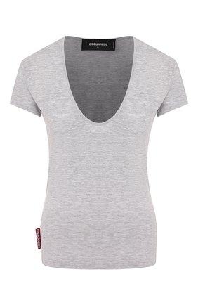 Женская футболка из смеси хлопка и вискозы DSQUARED2 серого цвета, арт. S75GD0092/S22146 | Фото 1