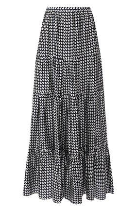 Женская шелковая юбка KITON темно-синего цвета, арт. D49214K09S75 | Фото 1