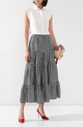 Женская шелковая юбка KITON темно-синего цвета, арт. D49214K09S75 | Фото 2