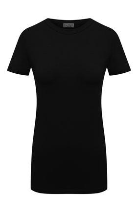 Женская хлопковая футболка BRUNELLO CUCINELLI черного цвета, арт. M0T18B0170 | Фото 1