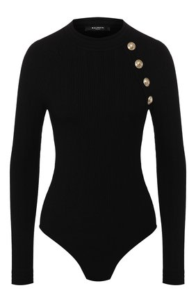Женское боди из вискозы BALMAIN черного цвета, арт. TF10943/K030 | Фото 1