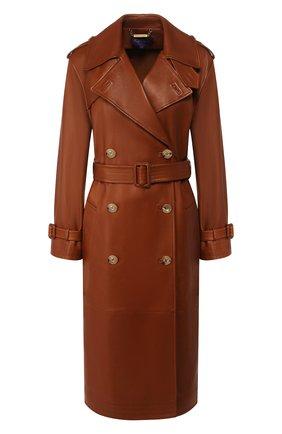 Женское кожаное пальто RALPH LAUREN коричневого цвета, арт. 290791388   Фото 1