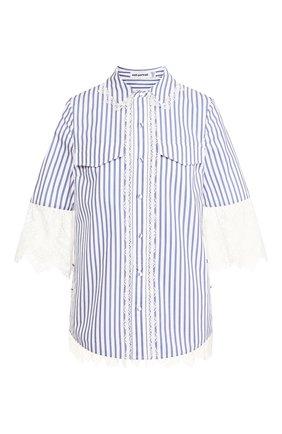 Женская хлопковая рубашка SELF-PORTRAIT голубого цвета, арт. RS20-102 | Фото 1