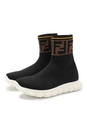Детские текстильные кроссовки FENDI черного цвета, арт. JMR257/A62L/36-39 | Фото 1