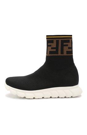 Детские текстильные кроссовки FENDI черного цвета, арт. JMR257/A62L/36-39 | Фото 2