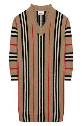 Детское платье из шерсти и кашемира BURBERRY светло-серого цвета, арт. 8017878 | Фото 1