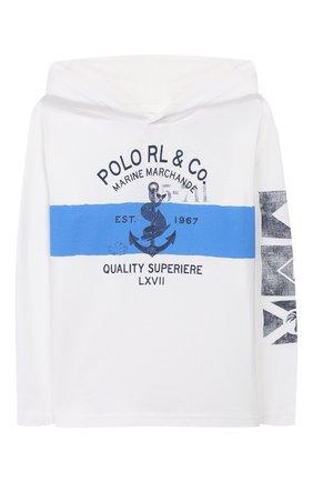 Детская лонгслив с капюшоном POLO RALPH LAUREN белого цвета, арт. 322760591 | Фото 1