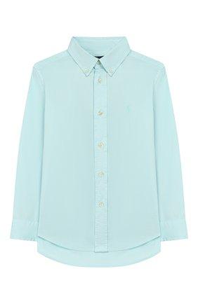 Детская хлопковая рубашка RALPH LAUREN бирюзового цвета, арт. 322760822 | Фото 1