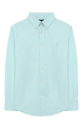 Детская хлопковая рубашка RALPH LAUREN бирюзового цвета, арт. 323760822   Фото 1