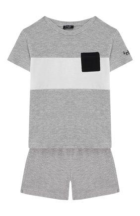 Детский комплект из футболки и шорт IL GUFO серого цвета, арт. P20DP318M0095/3M-9M | Фото 1