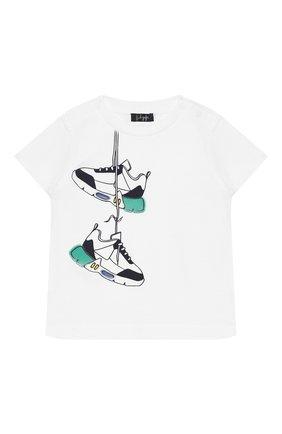 Детский хлопковая футболка IL GUFO белого цвета, арт. P20TS226M0014/3M-9M | Фото 1