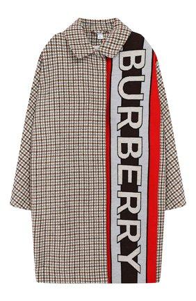 Детское шерстяное пальто BURBERRY разноцветного цвета, арт. 8022359 | Фото 1