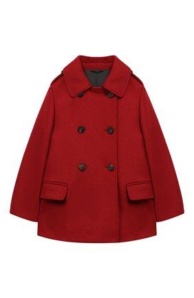 Детское двубортное пальто из шерсти BRUNELLO CUCINELLI красного цвета, арт. BB5249490A | Фото 1