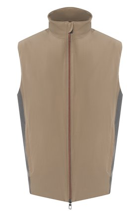 Мужской жилет LORO PIANA хаки цвета, арт. FAL0268 | Фото 1 (Длина (верхняя одежда): Короткие; Материал внешний: Синтетический материал; Кросс-КТ: Куртка; Мужское Кросс-КТ: Верхняя одежда; Стили: Кэжуэл; Материал подклада: Синтетический материал; Статус проверки: Проверена категория)