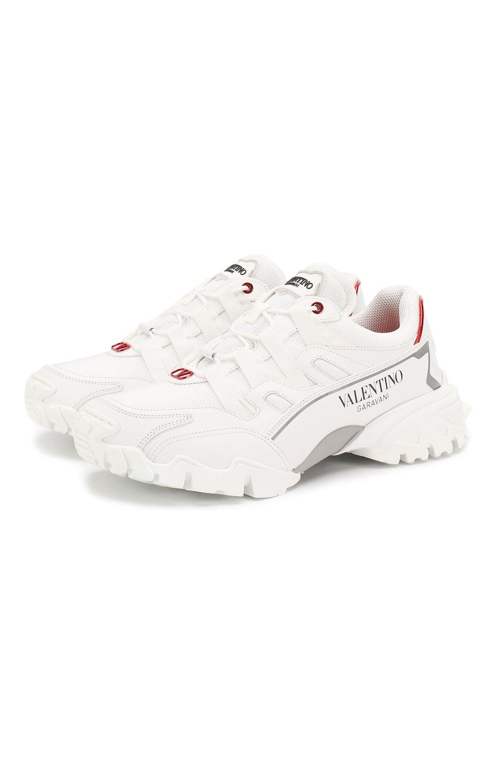 Мужские комбинированные кроссовки valentino garavani climbers VALENTINO белого цвета, арт. TY2S0C20/LJP | Фото 1