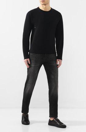 Мужская хлопковый лонгслив BOTTEGA VENETA черного цвета, арт. 610265/VF1U0   Фото 2