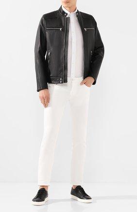 Мужские кожаные кеды SANTONI черного цвета, арт. MBCN14387BARCMIAN01 | Фото 2