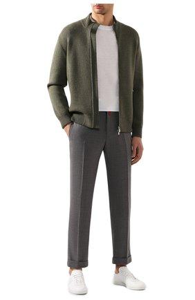 Мужские шерстяные брюки KITON серого цвета, арт. UFPLACJ07S65   Фото 2