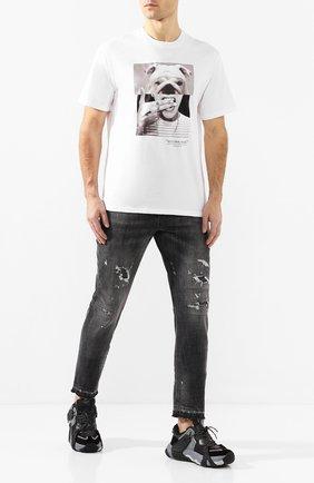 Мужская хлопковая футболка NEIL BARRETT белого цвета, арт. PBJT690B/N536S | Фото 2