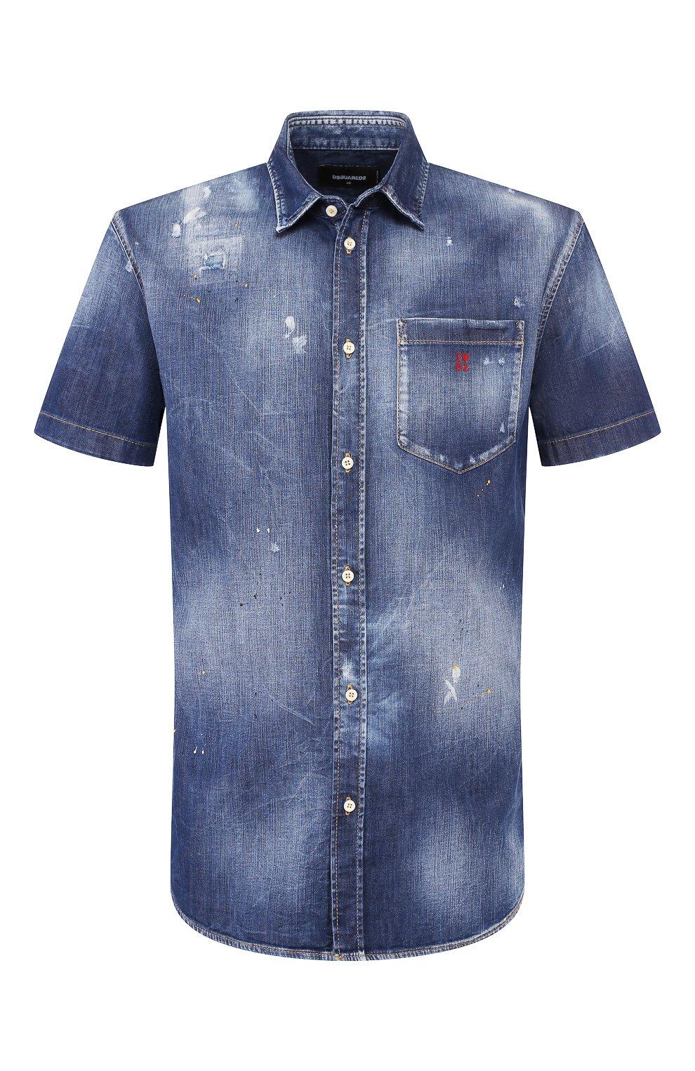Мужская джинсовая рубашка DSQUARED2 синего цвета, арт. S74DM0374/S30341 | Фото 1